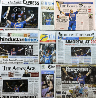 Sachin Tendulkar takes over the front pages after scoring the first ever 200 in ODI history, February 25, 2010