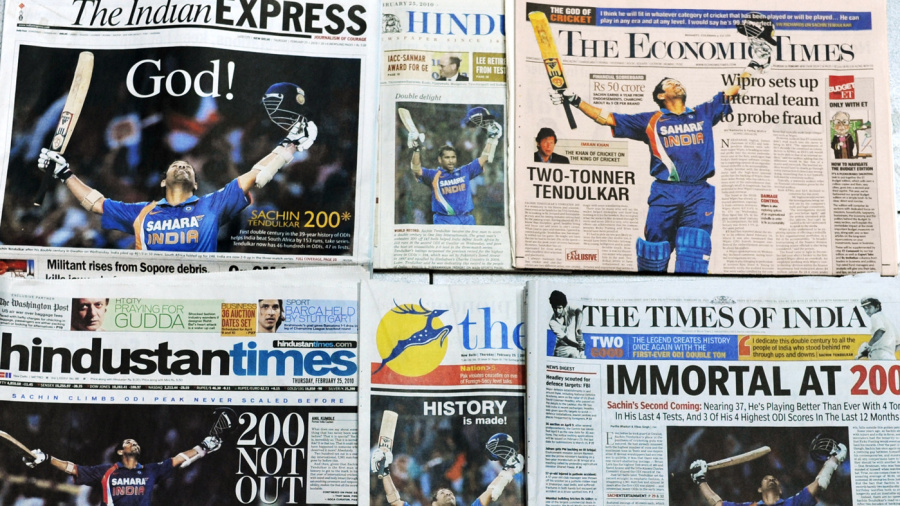 Sachin Tendulkar takes over the front pages after scoring the first ever 200 in ODI history