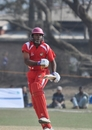 Buddika Mendis celebrates after hitting the winning runs, Singapore v Jersey, World Cricket League Division 5, Nepal, February 26, 2010