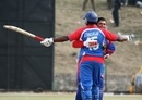 Sushil Nadkarni and Aditya Thyagarajan celebrate USA's victory, Nepal v USA, World Cricket League Division 5, Nepal, February 26, 2010