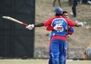 Sushil Nadkarni and Aditya Thyagarajan celebrate USA's victory, Nepal v USA, World Cricket League Division 5, Nepal, February 26, 2010