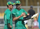 Kepler Wessels and Corrie van Zyl in discussion during South Africa's training session, Ahmedabad, February 26, 2010