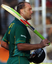 Jacques Kallis walks off after an unbeaten 104