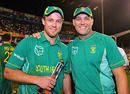 Jacques Kallis poses with AB de Villiers, the Man of the Match