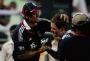 Alastair Cook congratulates Eoin Morgan after his match-winning hundred, Bangladesh v England, 2nd ODI, Dhaka, March 2, 2010