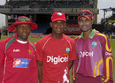 Prosper Utseya, Yannick Ottley and Denesh Ramdin strike a pose, Guyana, March 3, 2010