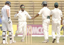Mehrab Hossain Jr. celebrates the wicket of Ian Bell