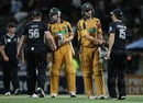 Adam Voges and Cameron White shake hands after guiding Australia to victory, New Zealand v Australia, 3rd ODI, Hamilton, March 9, 2010
