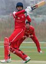 Vikash Vaswani Gope hooks the ball during his half century against China at Kai Tak Cricket Ground