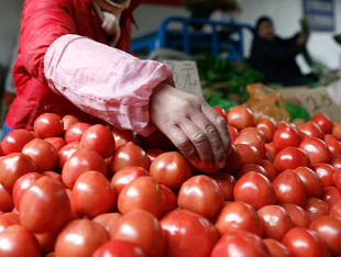 A vendor lays out tomatoes at a market in Beijing, March 10, 2010