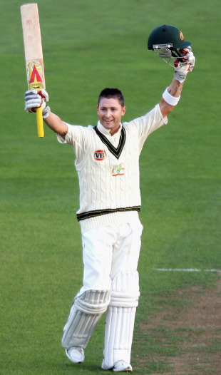 Michael Clarke celebrates his century, New Zealand v Australia, 1st Test, 1st day, Wellington, March 19, 2010