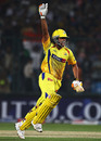 Chennai captain Suresh Raina celebrates after hitting the winning runs, Delhi Daredevils v Chennai Super Kings, IPL, Delhi, March 19, 2010