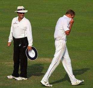 Stuart Broad shows his frustration after an lbw appeal is turned down by Tony Hill, Bangladesh v England, 2nd Test, Dhaka, March 23, 2010