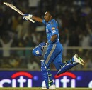 Dwayne Bravo celebrates the winning runs, Mumbai Indians v Chennai Super Kings, IPL, Mumbai, March 25, 2010