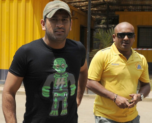 MS Dhoni, the captain of the Indian team arrives for the selection committee meeting in Mumbai