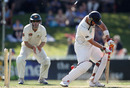 Mathew Sinclair couldn't stop Mitchell Johnson's searing yorker, New Zealand v Australia, 2nd Test, Hamilton, 2nd day, March 28, 2010
