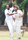 Malinga Bandara celebrates his match haul of nine wickets