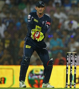 Adam Gilchrist watches a ball speed to the boundary, Deccan Chargers v Mumbai Indians, IPL, Mumbai (DY Patil), March 28, 2010