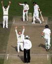 Michael Clarke appeals successfully for Mathew Sinclair's lbw
