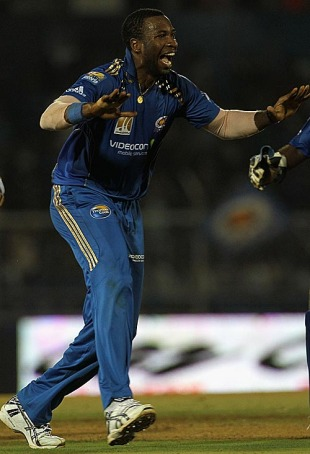 Kieron Pollard had a good time with the ball, Mumbai Indians v Deccan Chargers, IPL, Brabourne Stadium, April 3, 2010