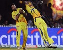 M Vijay catches Kieron Pollard despite interference from Thilan Thushara, Chennai Super Kings v Mumbai Indians, IPL, Chennai, April 6, 2010