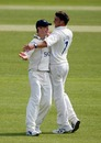 Neil Carter (r) and Chris Woakes removed Jonathan Bairstow, Warwickshire v Yorkshire, County Championship Division One, Edgbaston, April 10, 2010