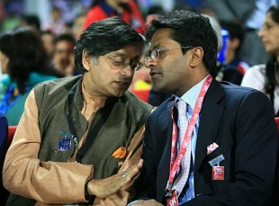 Shashi Tharoor, a minister in the Indian government, chats with Lalit Modi, Delhi Daredevils v Kolkata Knight Riders, IPL, Feroz Shah Kotla, March 29, 2010