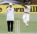 Mudassar Nazar bowls, England v Pakistan, 1st Test, Old Trafford, 2nd day, June 5, 1987