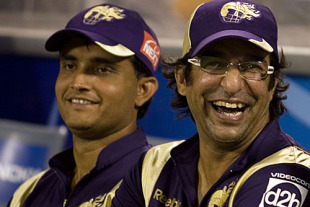 Wasim Akram relaxes in the dugout with Sourav Ganguly, Kolkata Knight Riders v Chennai Super Kings, IPL, March 16, 2010