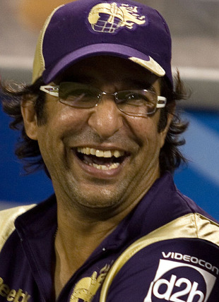 Wasim Akram relaxes in the dugout, Kolkata Knight Riders v Chennai Super Kings, IPL, March 16, 2010