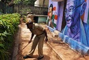 A policeman inspects the area around Chinnaswamy Stadium, Bangalore, April 18, 2010