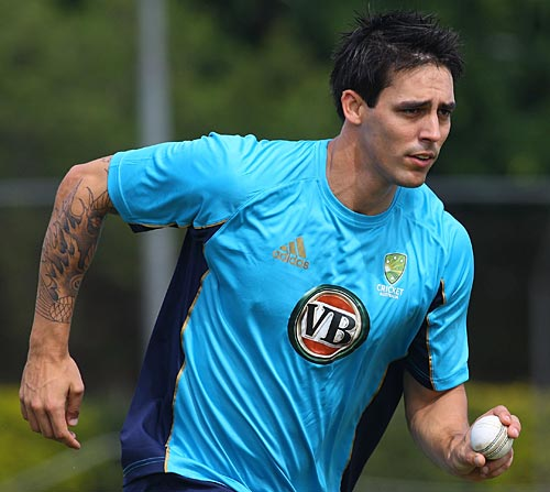 Mitchell Johnson trains in Brisbane