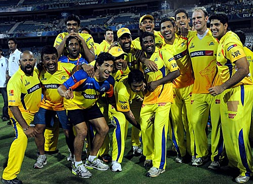 Chennai Super Kings celebrate their IPL triumph