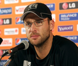 Daniel Vettori addresses the media in Guyana ahead of the World Twenty20 tournament in the West Indies, Guyana, April 26, 2010