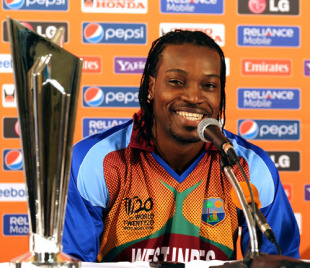 Chris Gayle, the host captain, addresses members of the media ahead of the ICC World Twenty20 tournament in the West Indies, Guyana, April 26, 2010