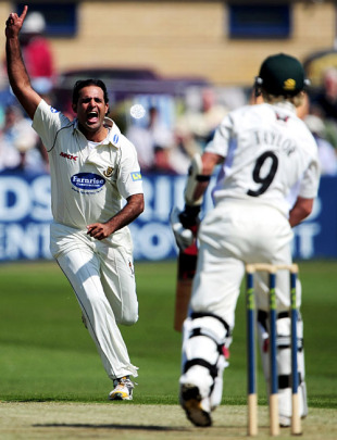 Rana Naved is delighted to see the back of James Taylor as Sussex blew Leicestershire's batting away, Sussex v Leicestershire, County Championship, Division Two, Hove, April 27, 2010