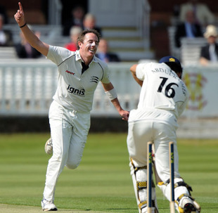 Iain O'Brien celebrates after castling Kadeer Ali , Middlesex v Gloucestershire, County Championship, Division Two, Lord's, April 27, 2010
