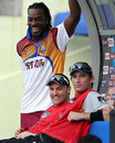 Chris Gayle catches up with Brendon McCullum and Shane Bond, Providence, April 27, 2010