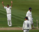 Kabir Ali dismissed Jonathan Trott for a duck as Warwickshire's top order struggled, Warwickshire v Hampshire, County Championship, Division One, Edgbaston, April 28, 2010