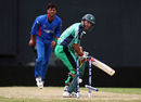Alex Cusack is bowled by Dawlat Ahmadzai, Ireland v Afghanistan, World Twenty20 warm-up, Providence, April 28, 2010