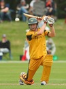 Alex Keath drives through the off side, New Zealand Under-19s v Australia Under-19s, 3rd Quarter-Final, ICC Under-19 World Cup, Rangiora, January 24, 2010