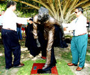 Wayne Coolwell and Larry Budd unveil a statue of Aboriginal cricketer Eddie Gilbert, Allan Border Field, Brisbane, November 16, 2008