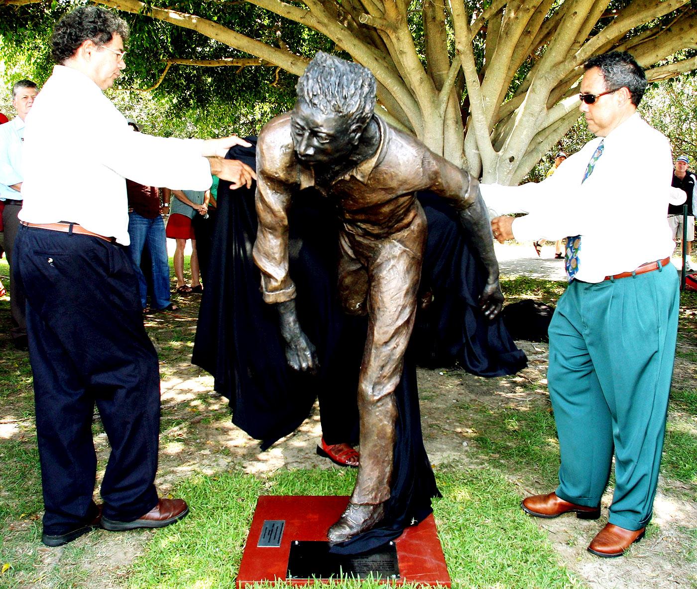 A statue of Aboriginal fast bowler Eddie Gilbert at Allan Border Field in Brisbane