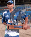 Sind Dolphins captain Faisal Iqbal poses with the winners' trophy, Baluchistan Bears v Sind Dolphins, RBS Pentangular One Day Cup, final, Karachi, April 29, 2010