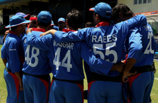The Afghanistan team huddles together before taking the field, Afghanistan v India, World Twenty20, Gros Islet, May 1, 2010
