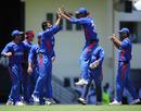 Dawlat Ahmadzai celebrates the dismissal of Gautam Gambhir with his team-mates, Afghanistan v India, World Twenty20, Gros Islet, May 1, 2010