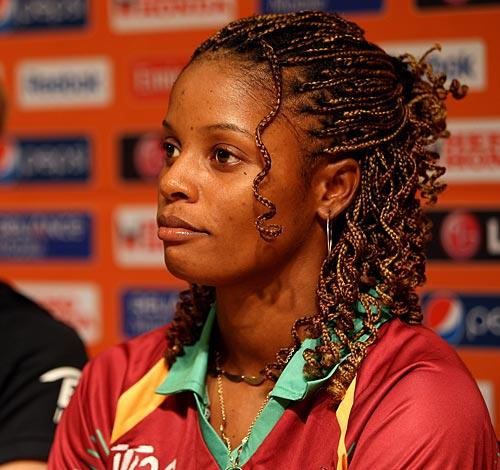 Merissa aguilleira the west indies women s captain at a press