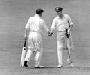Don Bradman congratulates Arthur Morris on reaching his century, England v Australia, 4th Test, Headingley, 5th day, July 27, 1948