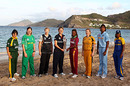 The eight women captains pose with the World Twenty20 trophy, St Kitts, May 1, 2010