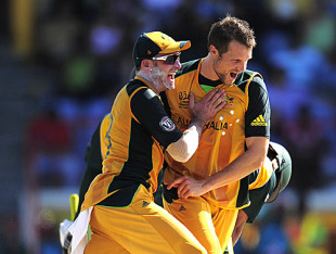 Dirk Nannes and Michael Hussey are thriller after getting rid of Kamran Akmal, Australia v Pakistan, Group A, ICC World Twenty20, St Lucia, May 2, 2010